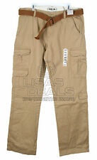 New Mens Vintage IRON CO CARGO PANT Belted Khaki Brown 36 x 32 38 40