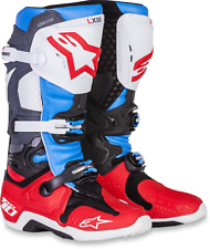 Alpinestars Mens Leather Red White Blue Dirtbike Offroad Tech 10 Riding Boots