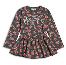 New Sugar Squad Happy Grey Pink Rose Floral Long Sleeved Jersey Peplum Top 2-8y