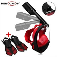 Snorkel Mask Full Face - Snorkeling Set-Snorkeling Swim Fins with Snorkel Mask