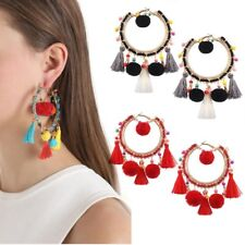 Boho Dangle Circle Rainbow Beaded Tassel Fringe Earrings Women Jewelry Wedding