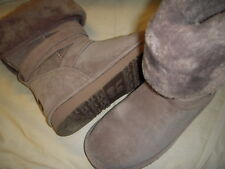 Lamo Savoy Suede Leather/Faux Fur Strap Detail Fold-Over Cuff Tall Boots Womens