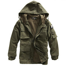 Men's Coat Jacket Military Fleece Hooded Outerwear Dust Combat coat Army Green
