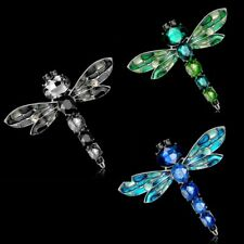 Fashion 18 K White Gold GP Crystal Dragonfly Brooch Pin Jewelry Gift For Family