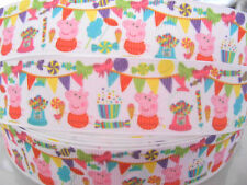 "PEPPA PIG PARTY character Grosgrain Ribbon 1""   Cake Clip Card  2 yds 5 yds  DCD"