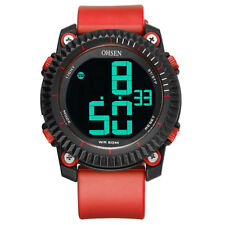 Xmas Gift OHSEN Men's Sport Military Silicone Digital Led Alarm Wrist Watches