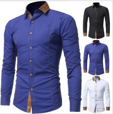 2017 Mens Splice Casual Shirt Men Long Sleeve Business Dress Shirts Solid Tops