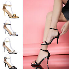 Womens Ankle Strap Party Peep Toe Sandals Court Shoes High Heel Stilettos Size