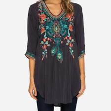 2017 NWT JOHNNY WAS ZIVELLY Blouse Embroidered TUNIC Top Navy Blue M L XL