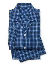 Savile Row Men's Navy Blue White Brushed Cotton Check Pyjamas