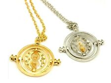 Gold Silver Harry Potter Time Turner Necklace Granger Rotating Spin Hourglass UK