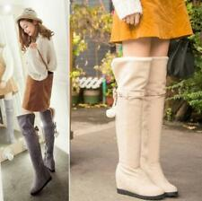 New Women Wedge Hidden Heel Over Knee Thigh High Boots Casual Bowknot Shoes G196