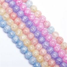 1Strand Round Crackle Design Crystal Glass Beads Loose Spacer Findings 4-12mm