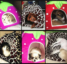 Pet Dog Strawberry Bed House Kennel Doggy Cat Puppy Warm Cushion Basket New
