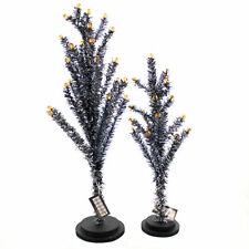 Halloween BLACK TINSEL TREE Plastic Wood/Plastic Set Of Two Df0393