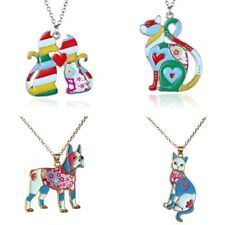 Fashion Rainbow Colorful Printing Cat Dog Pendant Necklace Women Family Jewelry