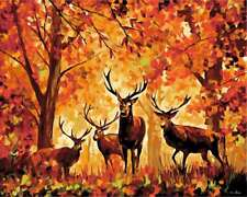 """16x20"""" Autumn Forest Deer DIY Paint By Number Kit Acrylic Oil Painting On Canvas"""