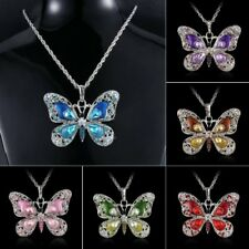 Butterfly Animal Crystal Pendant Necklace Long Family Women Jewelry Party Gift