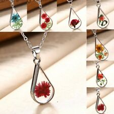 Handmade Natural Real Dried Flower Oval Glass Pendant Necklace Women Jewelry New