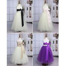 Kids Girls Bow Tulle Flower Tutu Dress Princess Formal Pageant Graduation Party