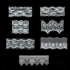 White Flower Embroidered Lace Trim Ribbon Fabric Sewing Crafts Dress Applique