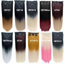24inch 130g 7pcs/set Dyed Clip In Hair Extensions Synthetic Ombre Hair Blonde