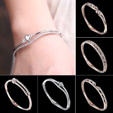 Fashion Stainless Steel Crystal Pearl Cuff Bangle Bracelet Wedding Women Jewelry