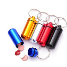 Mini Pill Box Waterproof Aluminum Medicine Case Bottle Holder Container Keychain