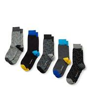 Savile Row Men's Blue Marl Grey Spot 5 Pack Socks
