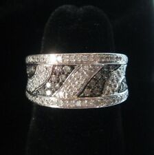 .75 ctw Genuine WHITE DIAMOND RING 3/4 carats Black Wave 925 STERLING SILVER 6.5