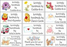 48 Large Personalised Handmade by/crafted labels stickers/Return Address/change