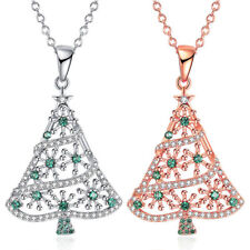 Cute Christmas tree Women Silver/Gold Stainless Steel Pendant Necklace Chain New