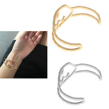 Women Vintage Hollow Cuff Bracelet Funny Human Face Metal Bangle Accessories