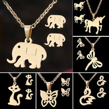 Fashion Stainless Steel Animal Dranonfly Horse Cat Necklace Earrings Set Jewelry