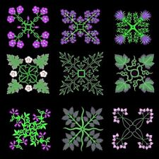 Anemone Quilt Squares 6 Machine Embroidery CD- 36 Designs- By Anemone Embroidery