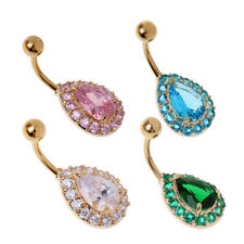 Waterdrop Navel Belly Button Ring Rhinestone Crystal Piercing Body Jewelry