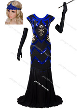 Vintage 1920s Flapper Dress Gatsby Wedding Costume Formal Evening Prom Gown Blue