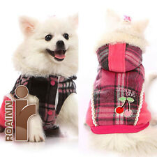PINK (GRID/Black or Pink) NEW! DOG PET OUTWEAR CLOTHING Woolen Coat Jacket Puppy