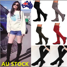 Women Block Heel Stretch Over The Knee Boots Lace Up Side Zipper Party Boots