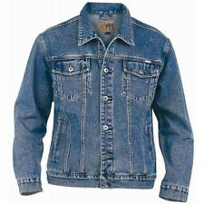 MENS DUKE WESTERN STYLE DENIM JACKET - STONEWASH BLUE DENIM