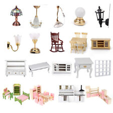 Doll House Furniture Miniature Table TV Cabinet Lamp w/ Battery Kitchen Kid Gift
