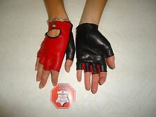 WOMENS RED  AND BLACK LEATHER FINGERLESS  GLOVES SIZE 7, 7.5, 8, 8.5
