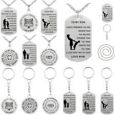 Men/Women Key Chain Dog Tag Pendant Necklace Jewelry Stainless Steel Family Gift