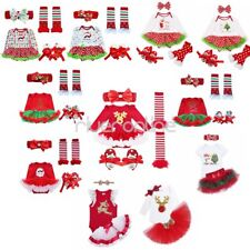Infant Baby Girls Tutu Dress Skirt Christmas Romper+Headband+Outfit Set Costume