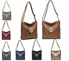 LADIES WOMENS TOTE FAUX LEATHER SLOUCH SATCHEL SHOPPER METAL ZIP SHOULDER BAG