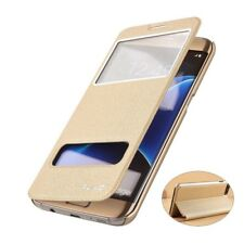 Luxury PU Leather View Window Flip Stand Cover Skin Case For Samsung/iPhone Y
