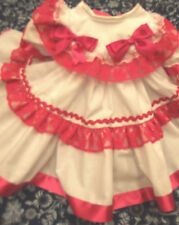 DREAM GIRLS ROMANY SPANISH WHITE FUCHSIA LACE LINED NETTED DRESS 0-18 MONTHS