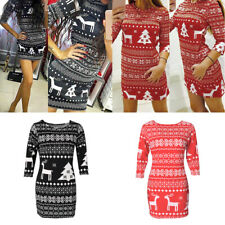 New Women Winter Xmas Cocktail Party Long Sleeve Bodycon Sweater Mini Dress