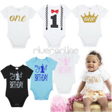 Toddler Baby Boys Girls 1st Birthday Party Romper Bodysuit Outfit Cotton Clothes