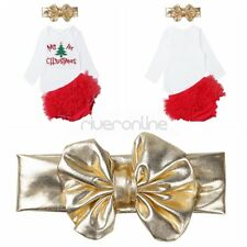 Infant Baby Girls My 1st Christmas Outfit Romper Bloomers Headband Clothes Set